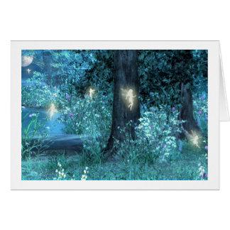Vuelo de hadas mágico de la noche tarjeta