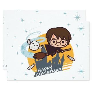 """Vuelo de Harry y de Hedwig más allá del navidad de Invitación 5"""" X 7"""""""