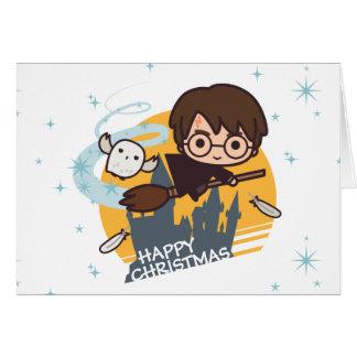 Vuelo de Harry y de Hedwig más allá del navidad de Tarjeta De Felicitación