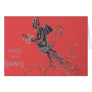 Vuelo de Krampus en la escoba Tarjeta De Felicitación