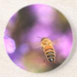 Vuelo de la abeja de la miel hacia la flor posavasos personalizados