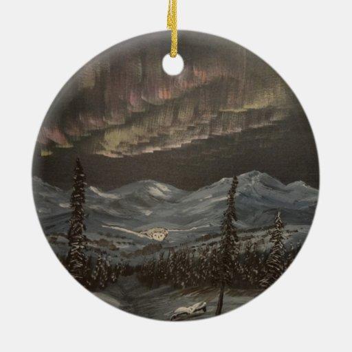 Vuelo de la aurora adorno navideño redondo de cerámica