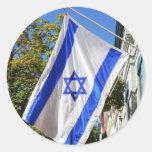 Vuelo de la bandera de Israel Etiqueta Redonda