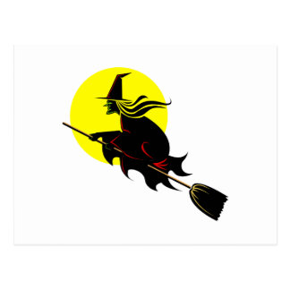 Vuelo de la bruja a través de la luna postal