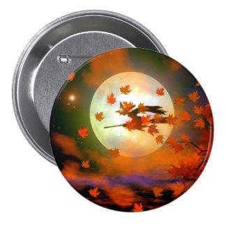 Vuelo de la bruja de Halloween Pin Redondo 7 Cm