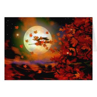 Vuelo de la bruja de Halloween Tarjeta De Felicitación