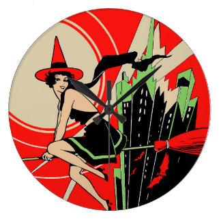 Vuelo de la bruja de Halloween (vintage) Reloj Redondo Grande