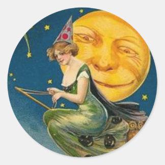 Vuelo de la bruja más allá de la luna - pegatina