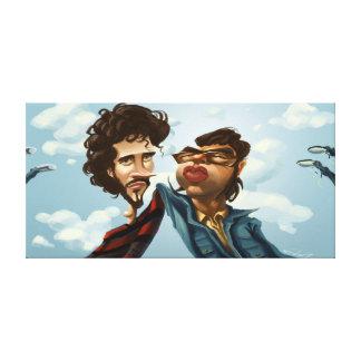Vuelo de la caricatura de las concordias impresiones en lienzo estiradas