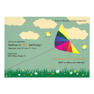 Vuelo de la cometa - invitaciones del cumpleaños d comunicados