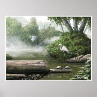 Vuelo de la grúa: Una pintura de la naturaleza Póster