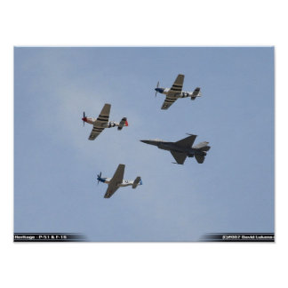 Vuelo de la herencia - mustango P-51 y halcón F-16 Póster