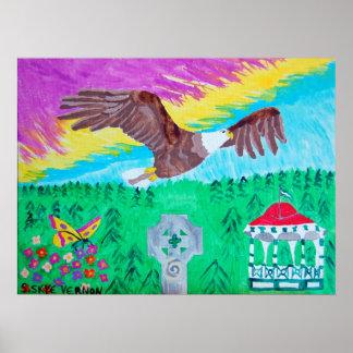 Vuelo de la impresión de Eagle Poster