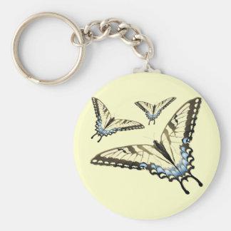 Vuelo de la mariposa llavero redondo tipo pin