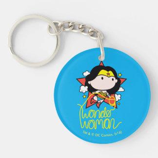 Vuelo de la Mujer Maravilla de Chibi con el lazo Llavero Redondo Acrílico A Doble Cara