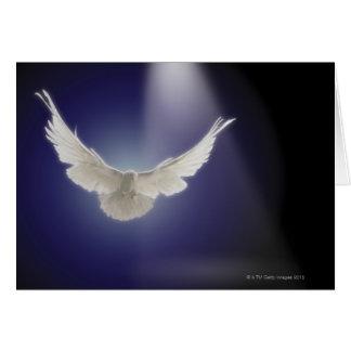 Vuelo de la paloma a través del haz de luz tarjeta de felicitación