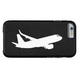 Vuelo de la silueta del avión de los aviones funda para iPhone 6 tough