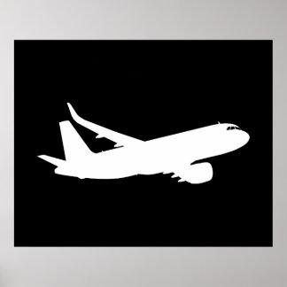 Vuelo de la silueta del avión de los aviones póster