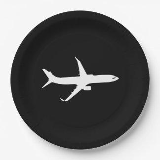 Vuelo de la silueta del avión de los aviones plato de papel de 9 pulgadas