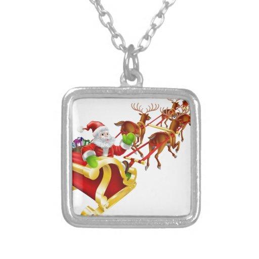 Vuelo de Papá Noel del navidad en trineo Colgante Personalizado