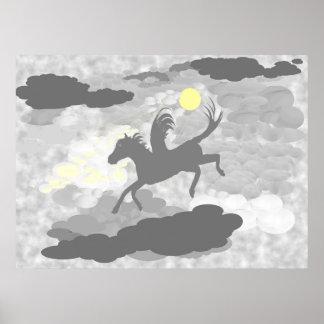 Vuelo de Pegaso a través de las nubes Póster