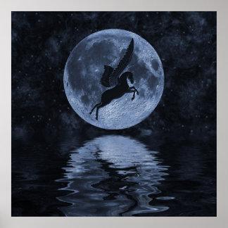 Vuelo de Pegaso antes de la luna Póster