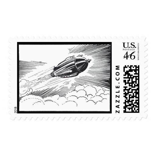 Vuelo de Rocket de la nave espacial del vintage en