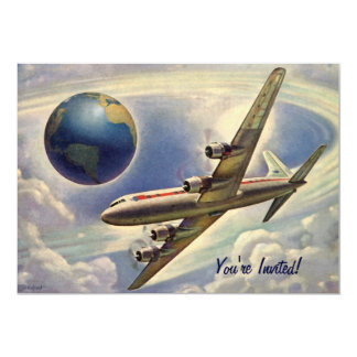 """Vuelo del aeroplano del vintage alrededor de la invitación 5"""" x 7"""""""