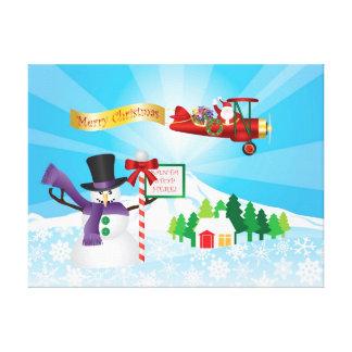 Vuelo del biplano de Papá Noel en poster de la nie Impresión En Lienzo
