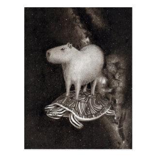 Vuelo del Capybara y de la tortuga acuática a Postal