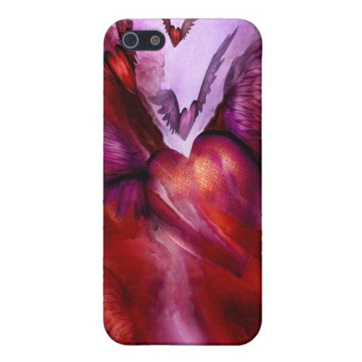 Vuelo del caso del iPhone 4 del arte del corazón iPhone 5 Cárcasas