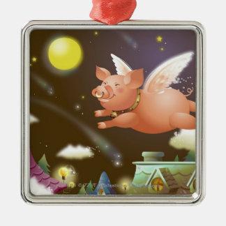 Vuelo del cerdo en el cielo adorno cuadrado plateado