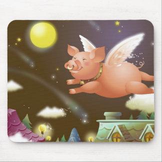 Vuelo del cerdo en el cielo tapetes de raton
