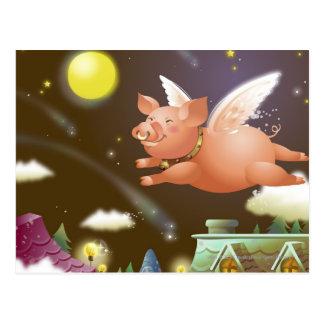 Vuelo del cerdo en el cielo postal