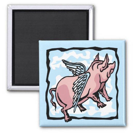 Vuelo del cerdo en las nubes iman