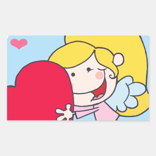 Vuelo del chica del Cupid del palillo con el coraz Rectangular Altavoces