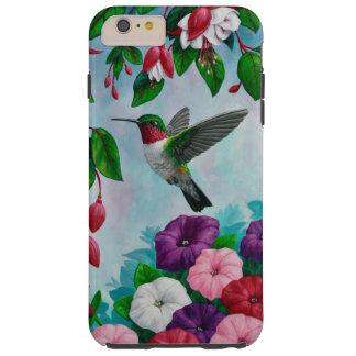 Vuelo del colibrí en jardín de flores funda resistente iPhone 6 plus