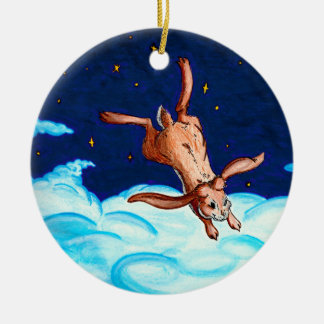 Vuelo del conejito en el ornamento de la noche adorno navideño redondo de cerámica