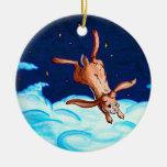 Vuelo del conejito en el ornamento de la noche adorno de navidad