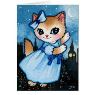 Vuelo del gato de Wendy - gatito lindo de Peter Pa Tarjeta De Felicitación