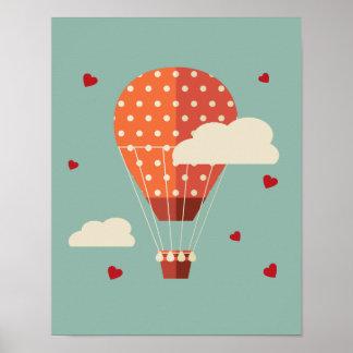 Vuelo del globo del aire caliente del vintage póster