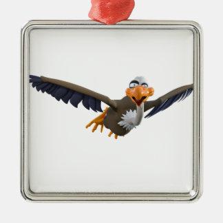 Vuelo del halcón del dibujo animado visto de adorno navideño cuadrado de metal