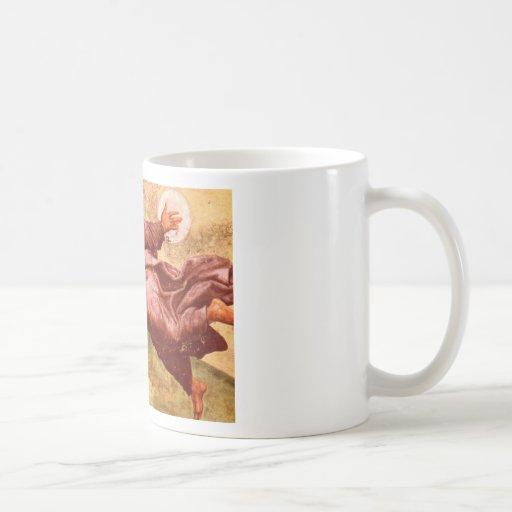 Vuelo del hombre del vintage hacia el Sun Tazas De Café