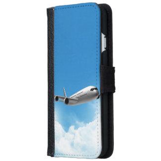 Vuelo del jet en el cielo funda cartera para iPhone 6