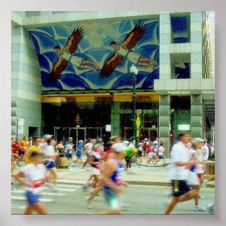vuelo del maratón póster