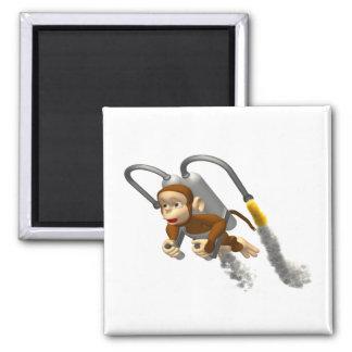 Vuelo del mono con Jetpack Imán Cuadrado