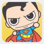 Vuelo del superhombre de Chibi Calcomania Cuadradas Personalizada