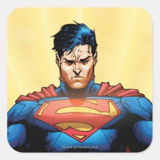 Vuelo del superhombre pegatinas cuadradases personalizadas