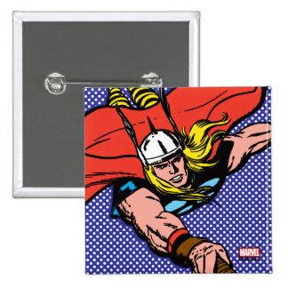 Vuelo del Thor con Mjolnir Pin Cuadrado