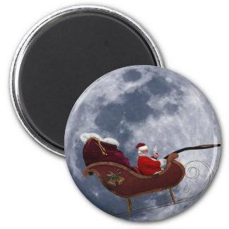 Vuelo del trineo de Santa por la luna Iman De Nevera